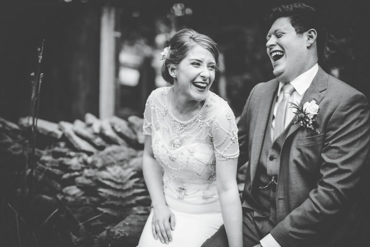 relaxed wedding images - laughing bride
