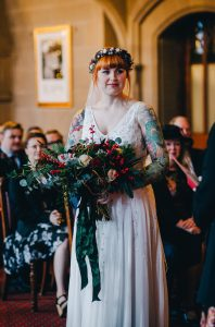 bride at manchester town hall ceremony looking beautiful