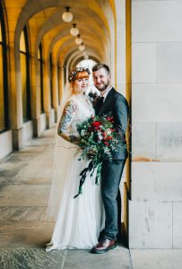 quirky and creative wedding photography - bride and groom near manchester town hall