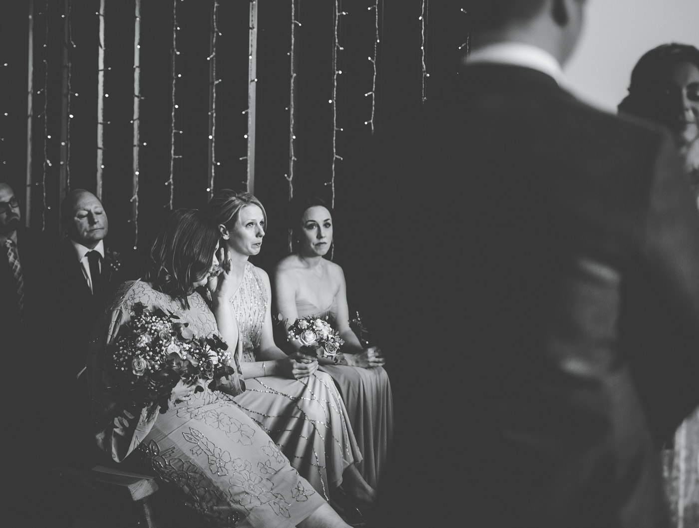 emotional guests during wedding ceremony at Owe n House