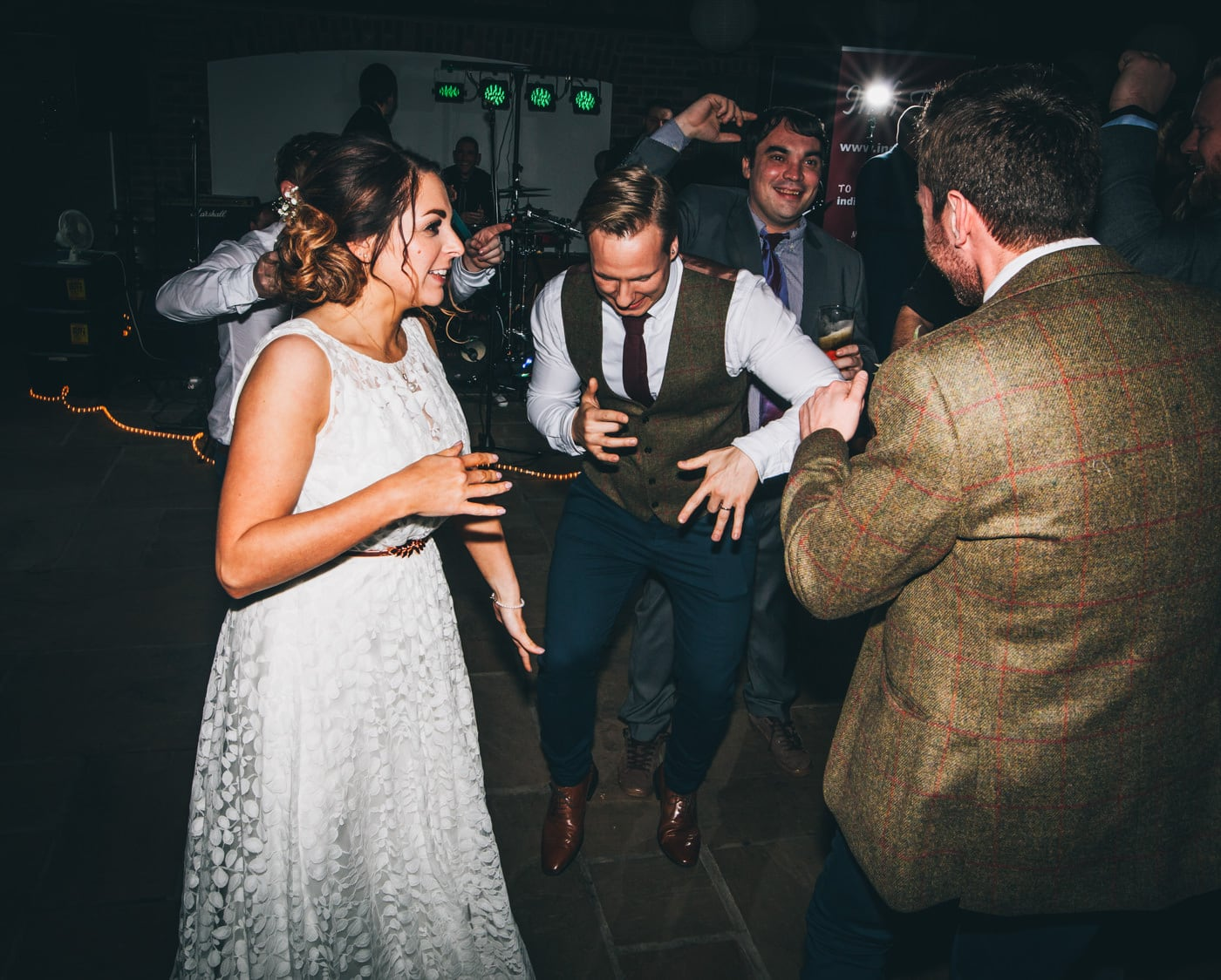 bride and groom dancing - cheshire wedding photographer