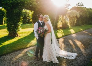 colourful wedding pictures - bride and groom at thornton Manor