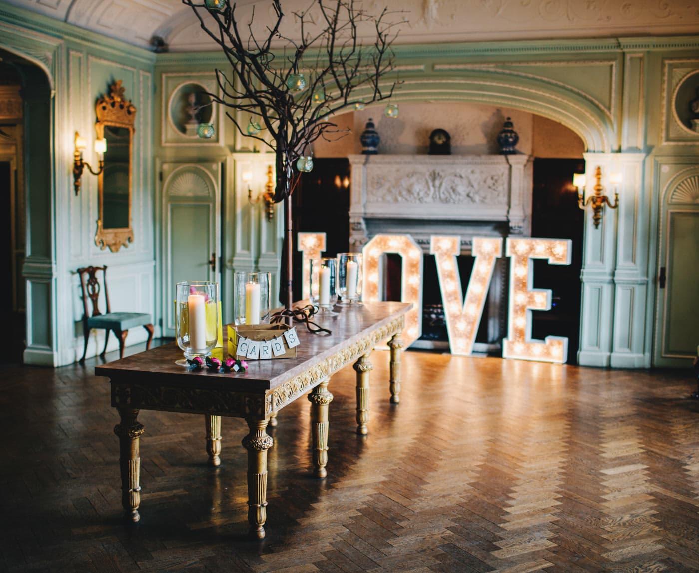 Cheshire wedding photographer - interior of Thornton Manor
