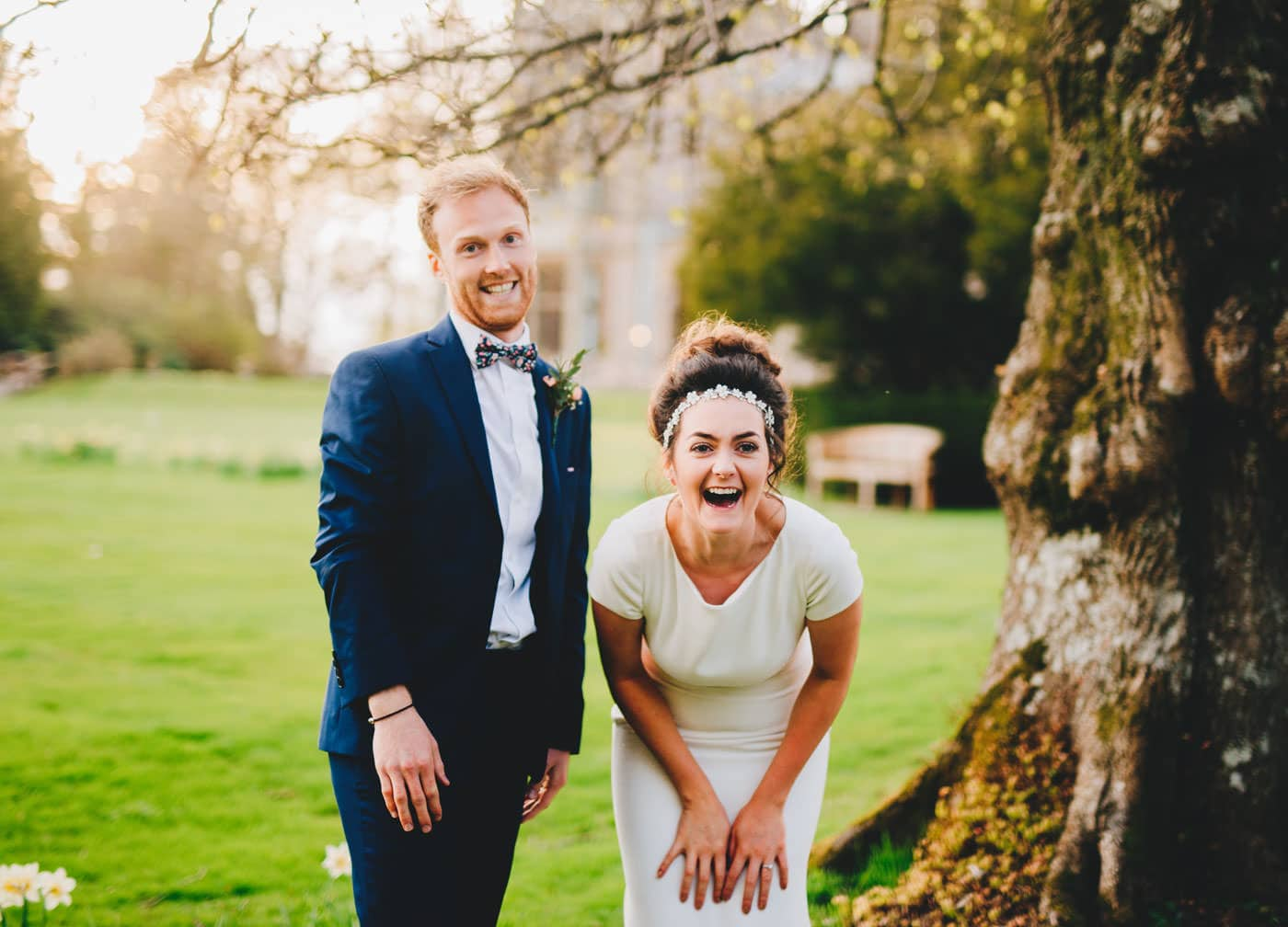relaxed bride and groom's portraits - armathwaite hall wedding photography