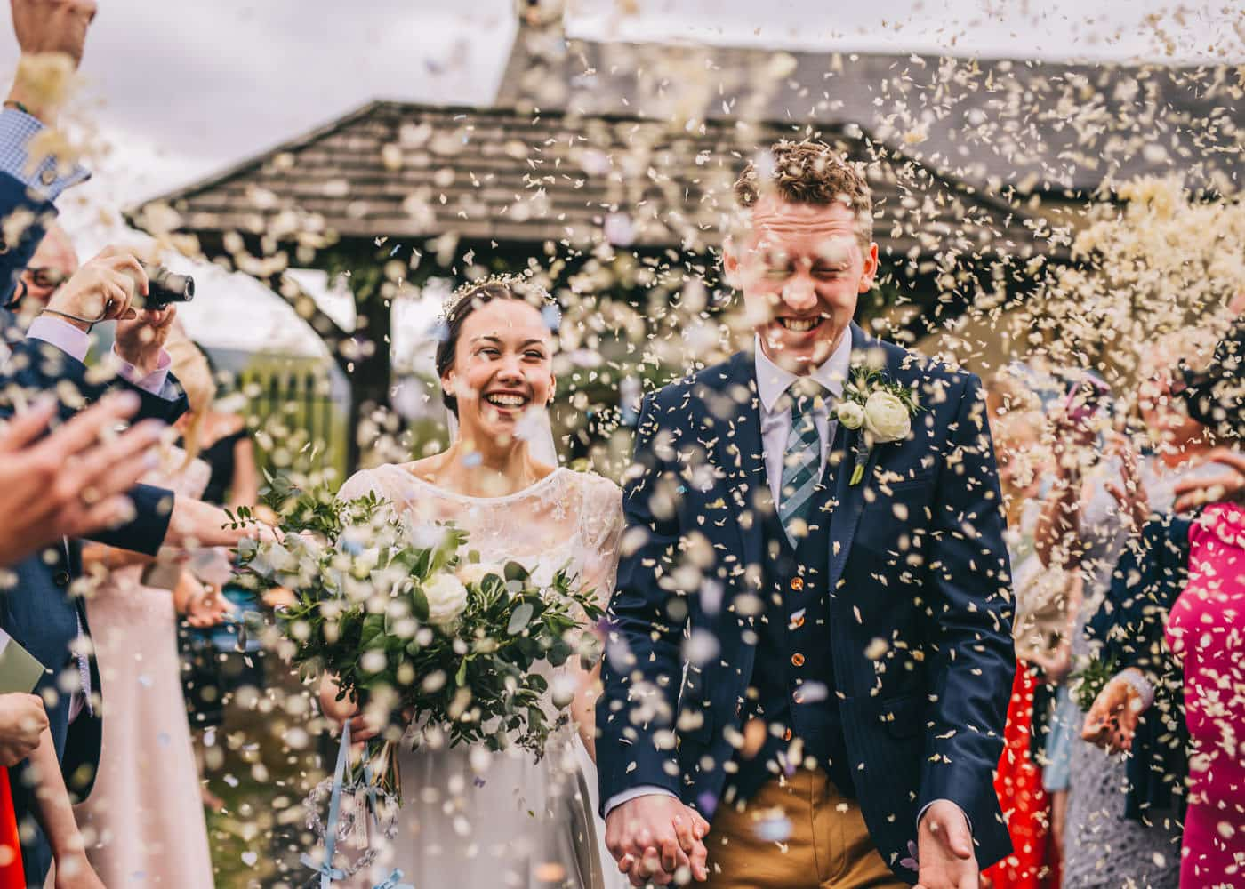 lots of confetti - creative wedding photography Lancashire
