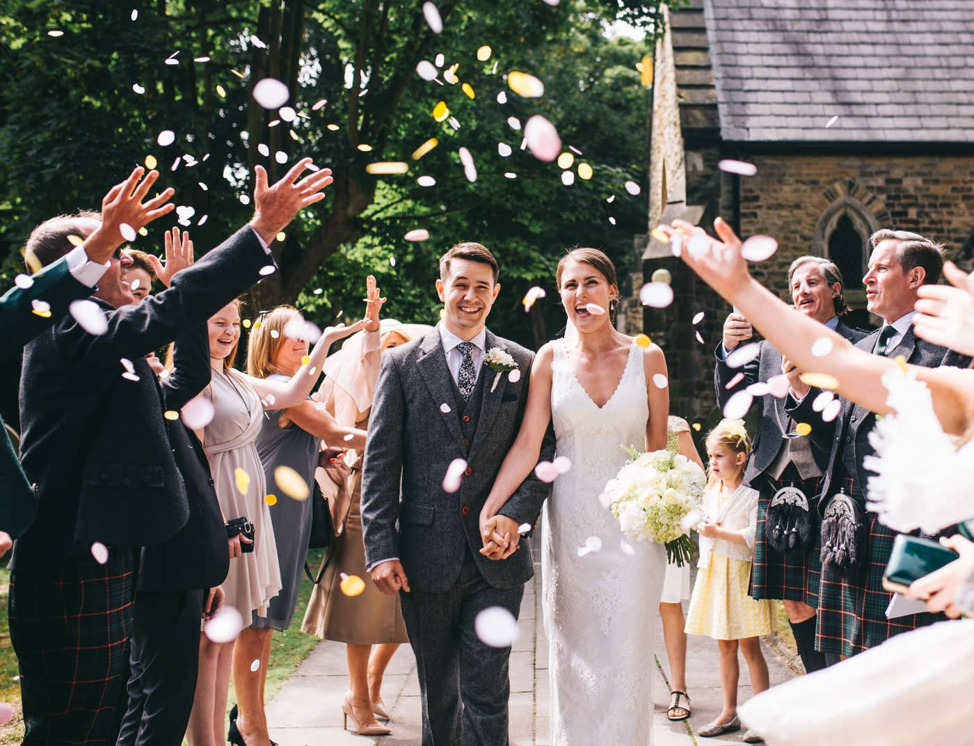 confetti outside church - Lancashire wedding photographer