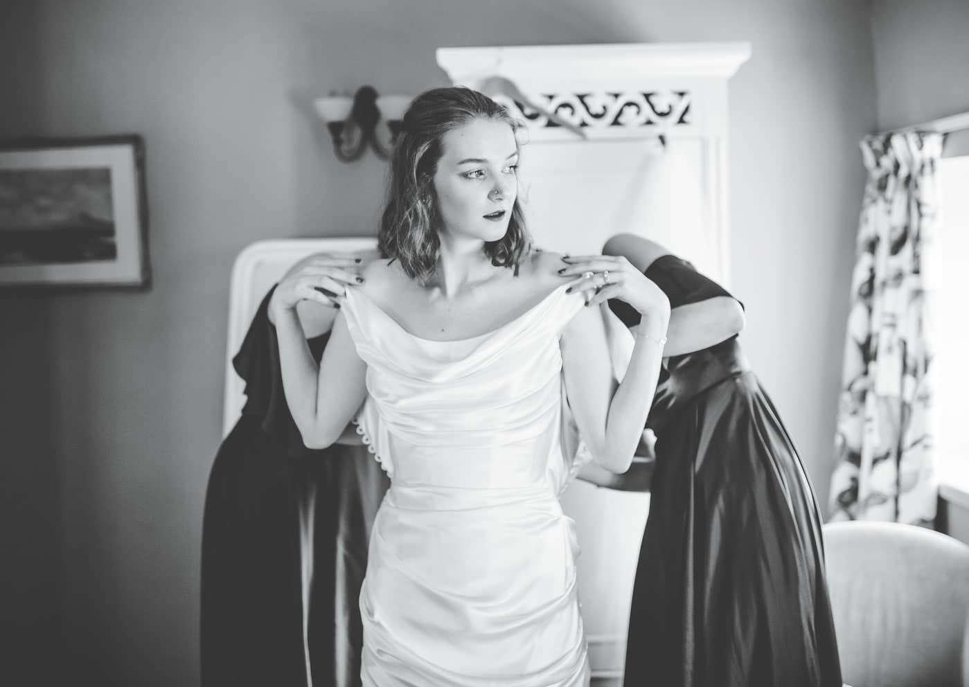 creative black and white wedding pictures at Browsholme Hall wedding