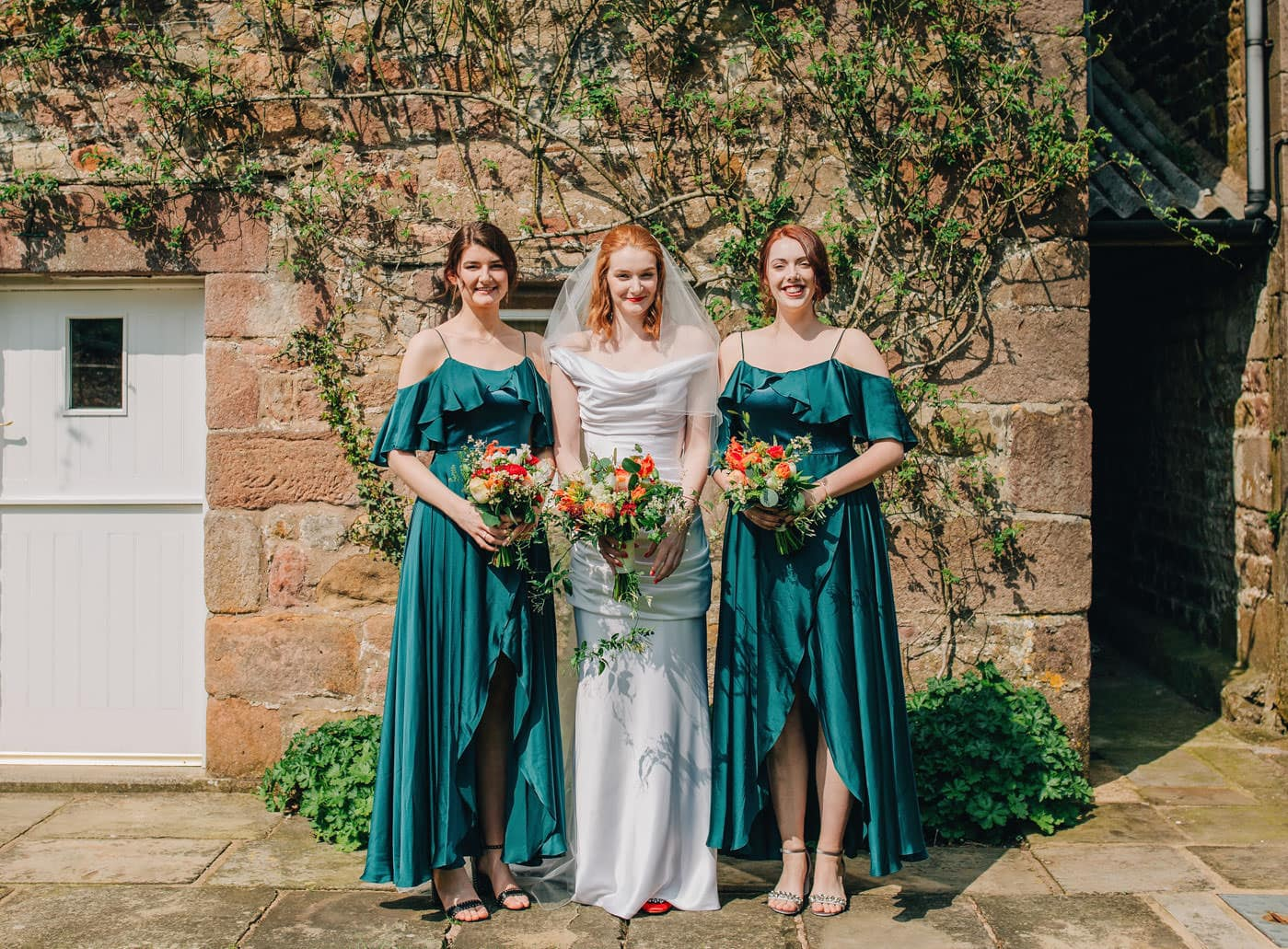 bridesmaids in green dresses
