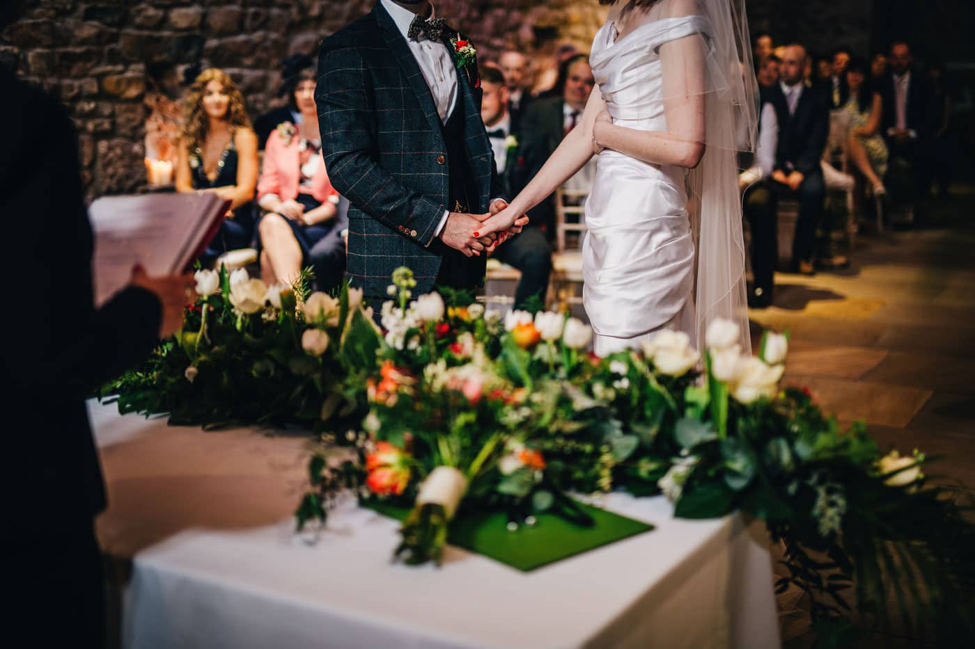 holding hands at Browsholme Hall wedding