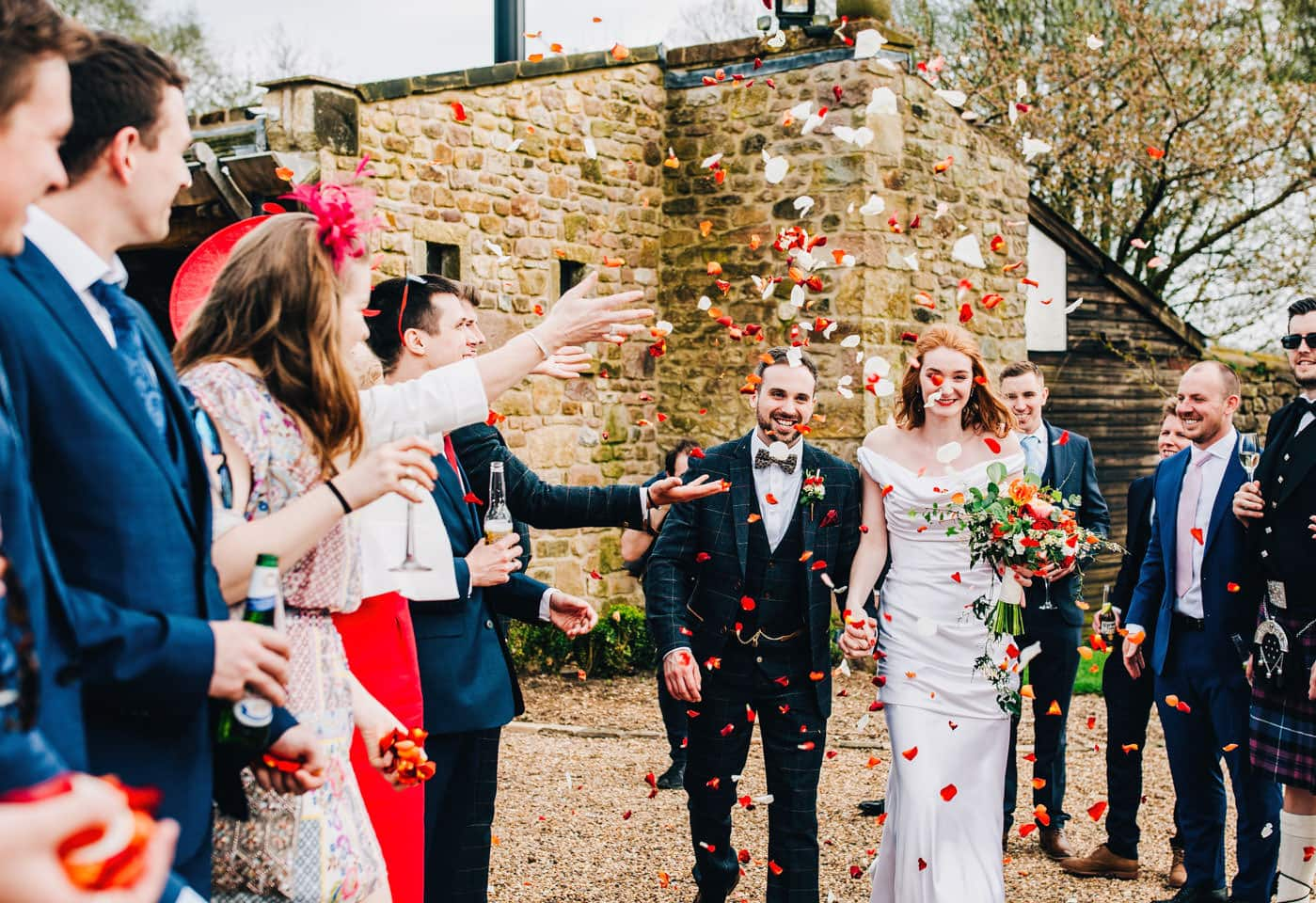 throwing confetti at Browsholme Hall