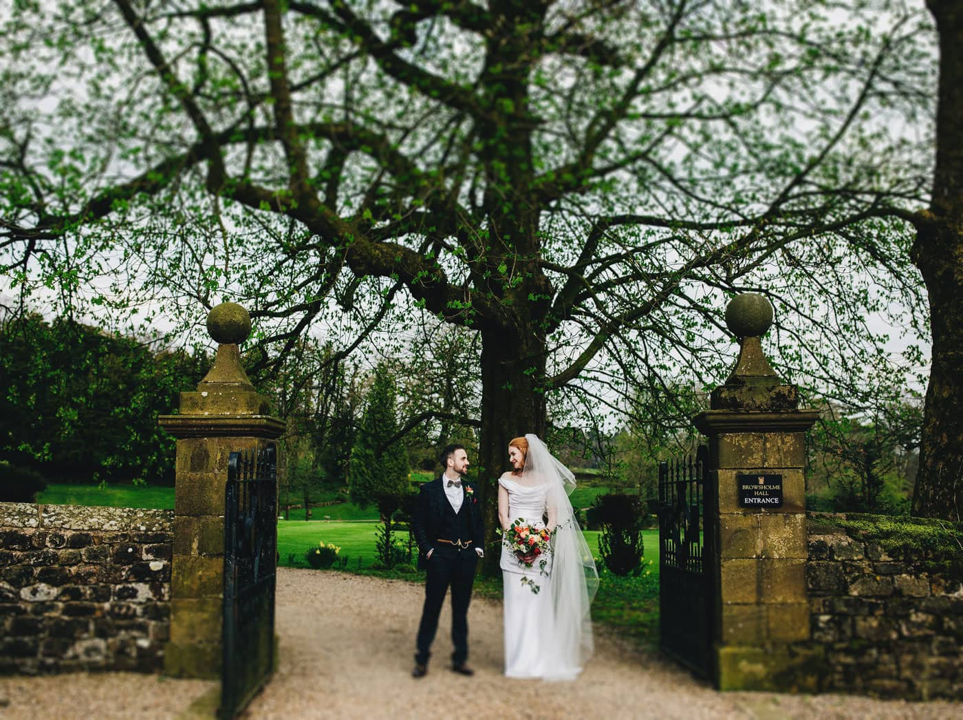 creative wedding portraits of bride and groom at Browsholme hall