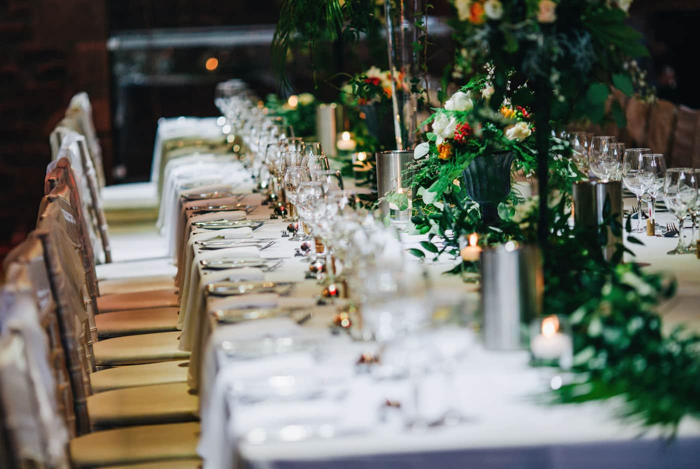 lovely table settings at Browsholme Hall wedding
