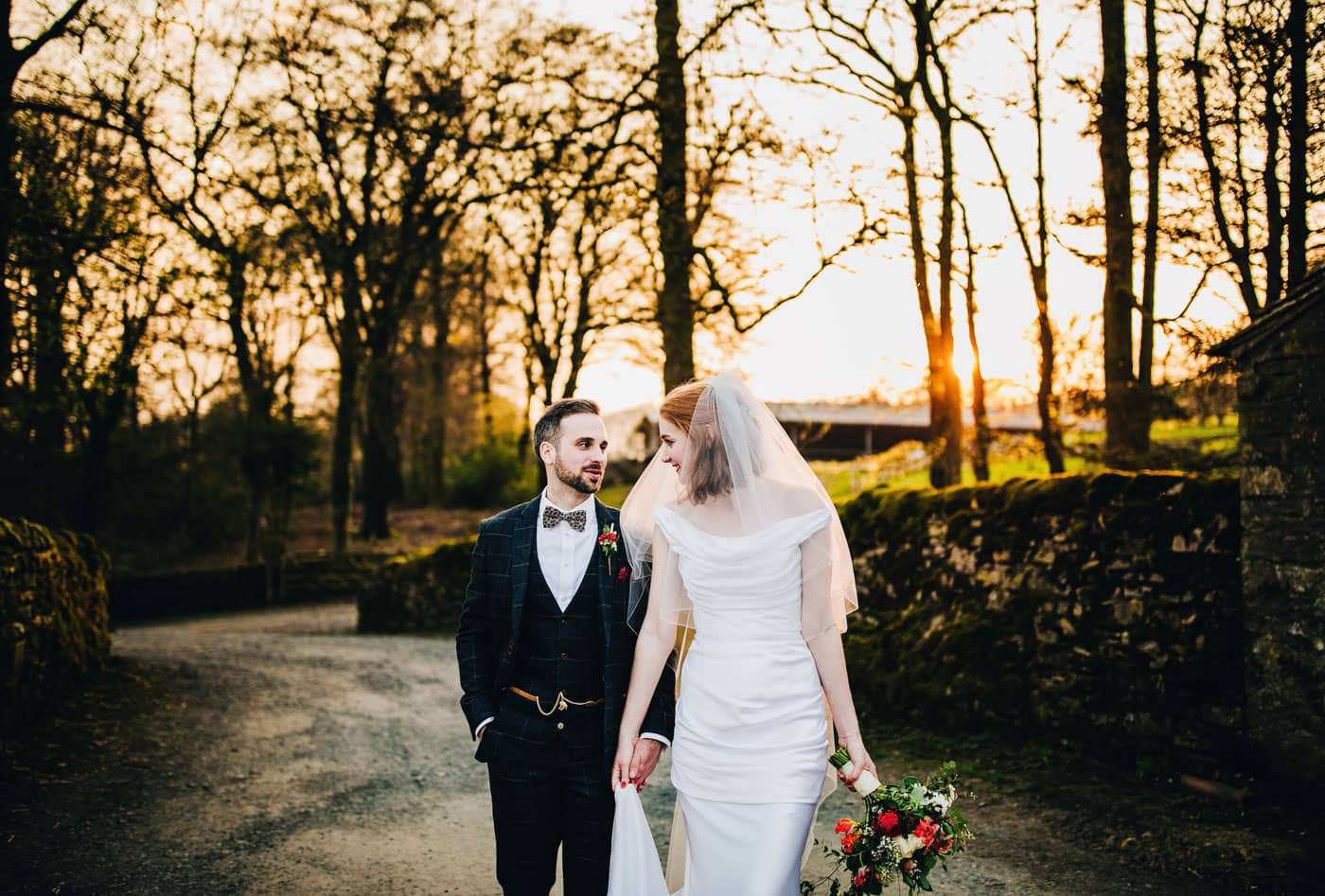 sunset portraits at Browsholme Hall - Lancashire wedding photographer