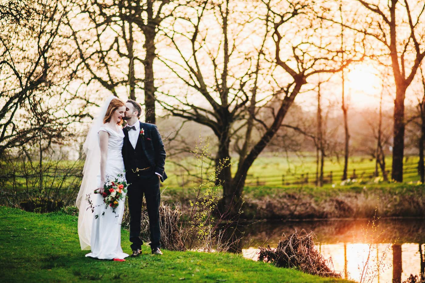 sunset wedding pictures at Browsholme Hall