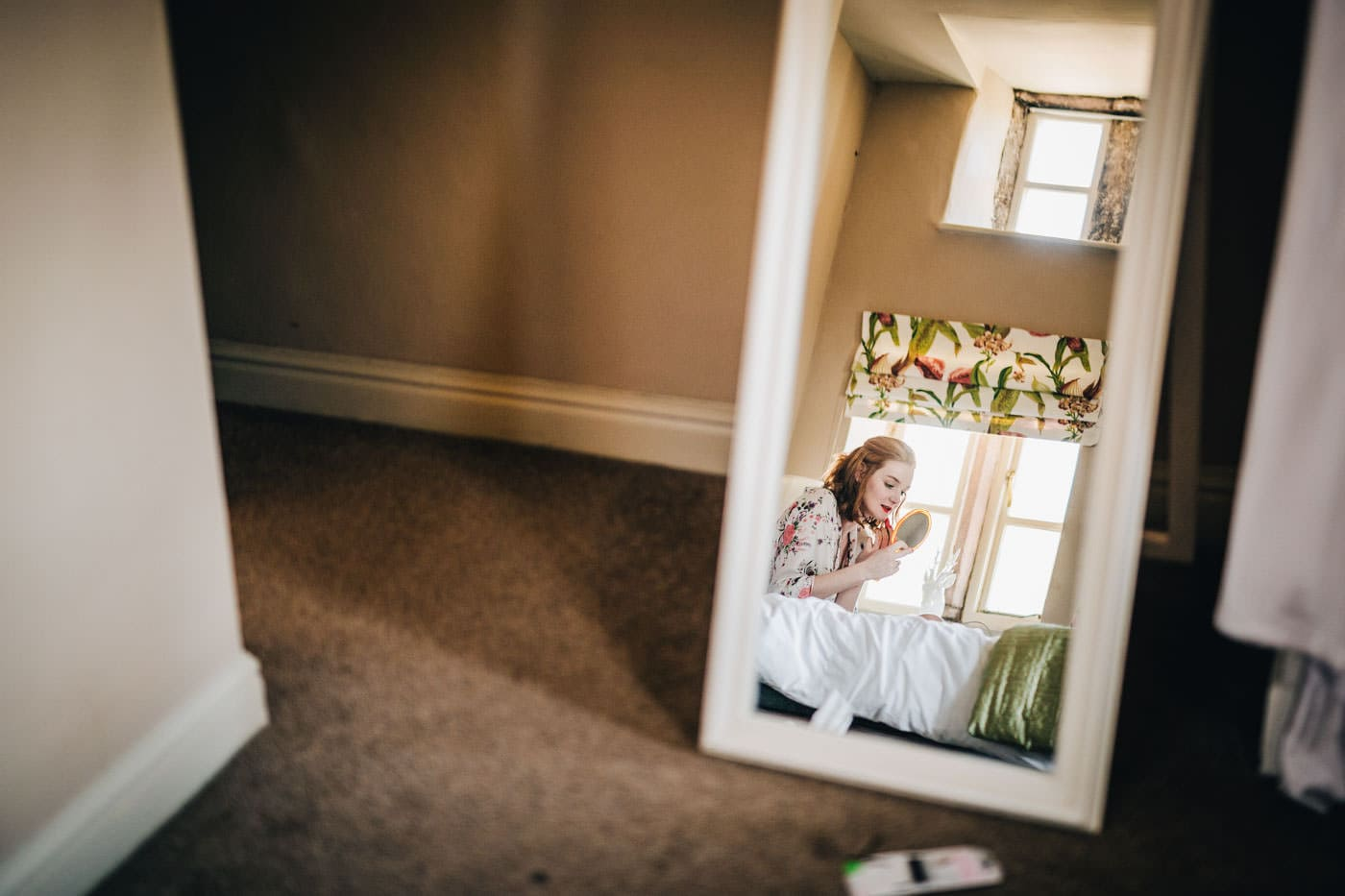 reflection - bride getting ready - natural wedding photography