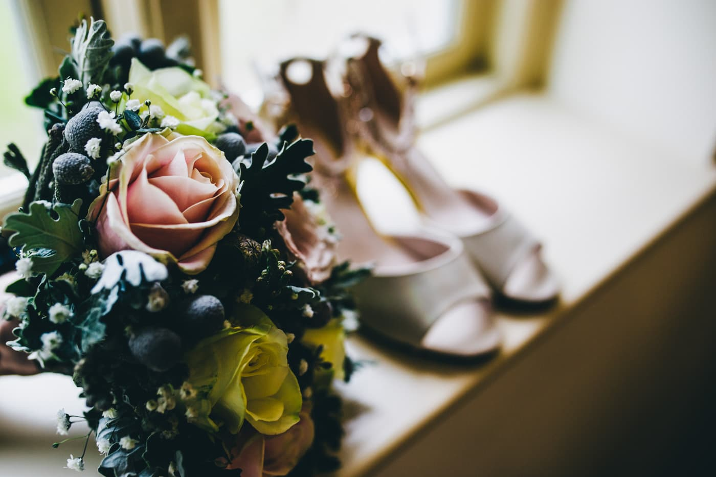 flowers and shoes - wedding details