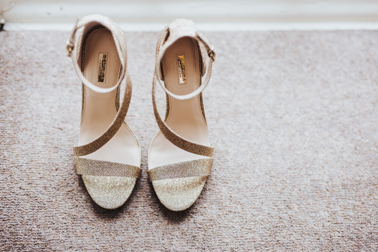wedding shoes at Eaves Hall