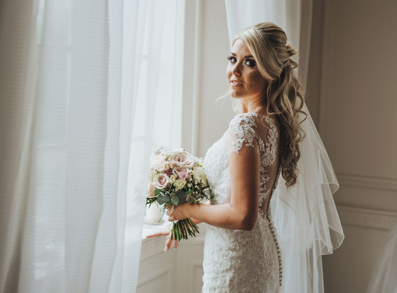 Portrait of bride at Eaves Hall