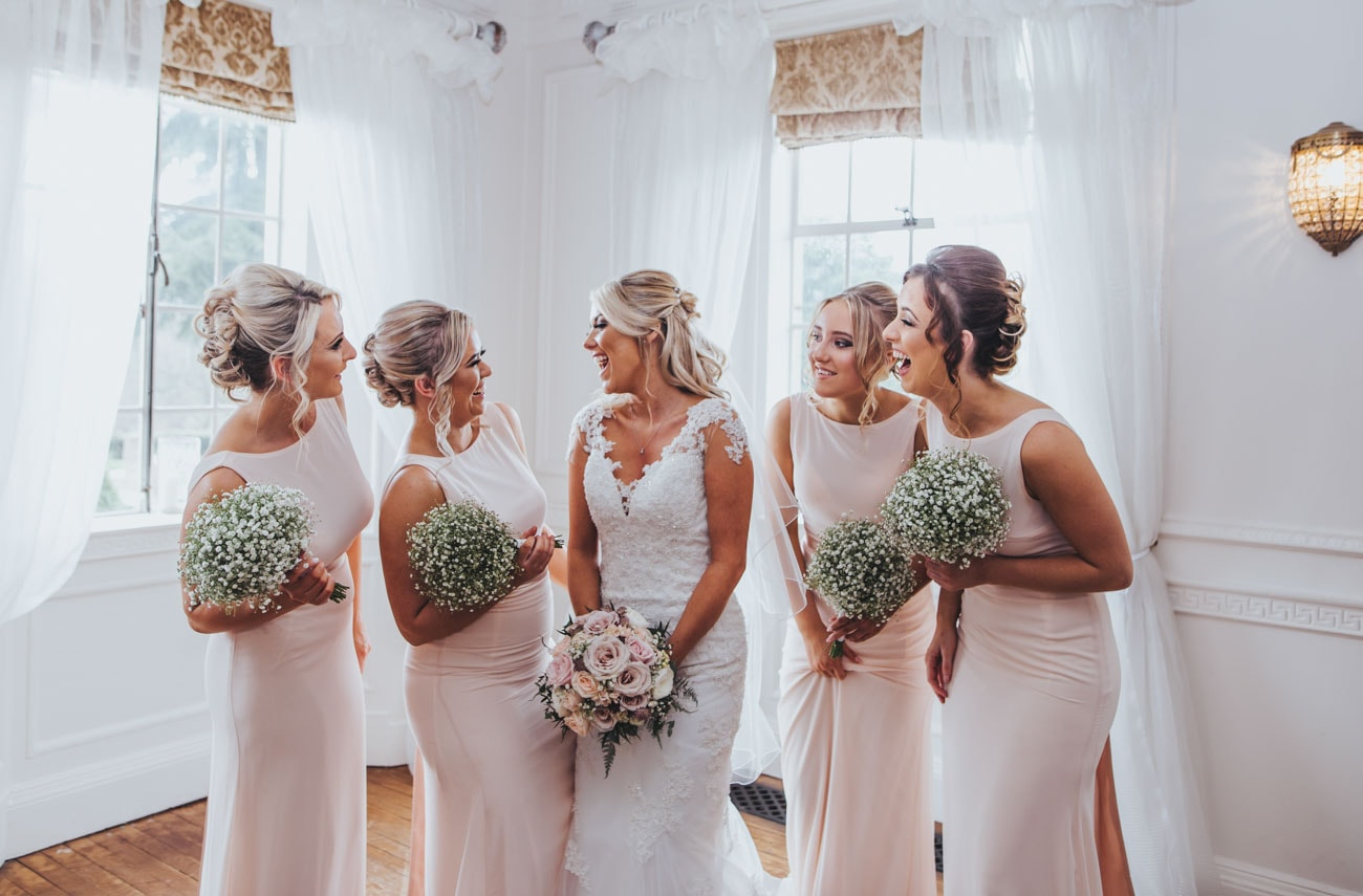 portrait of bridesmaids at Eaves Hall