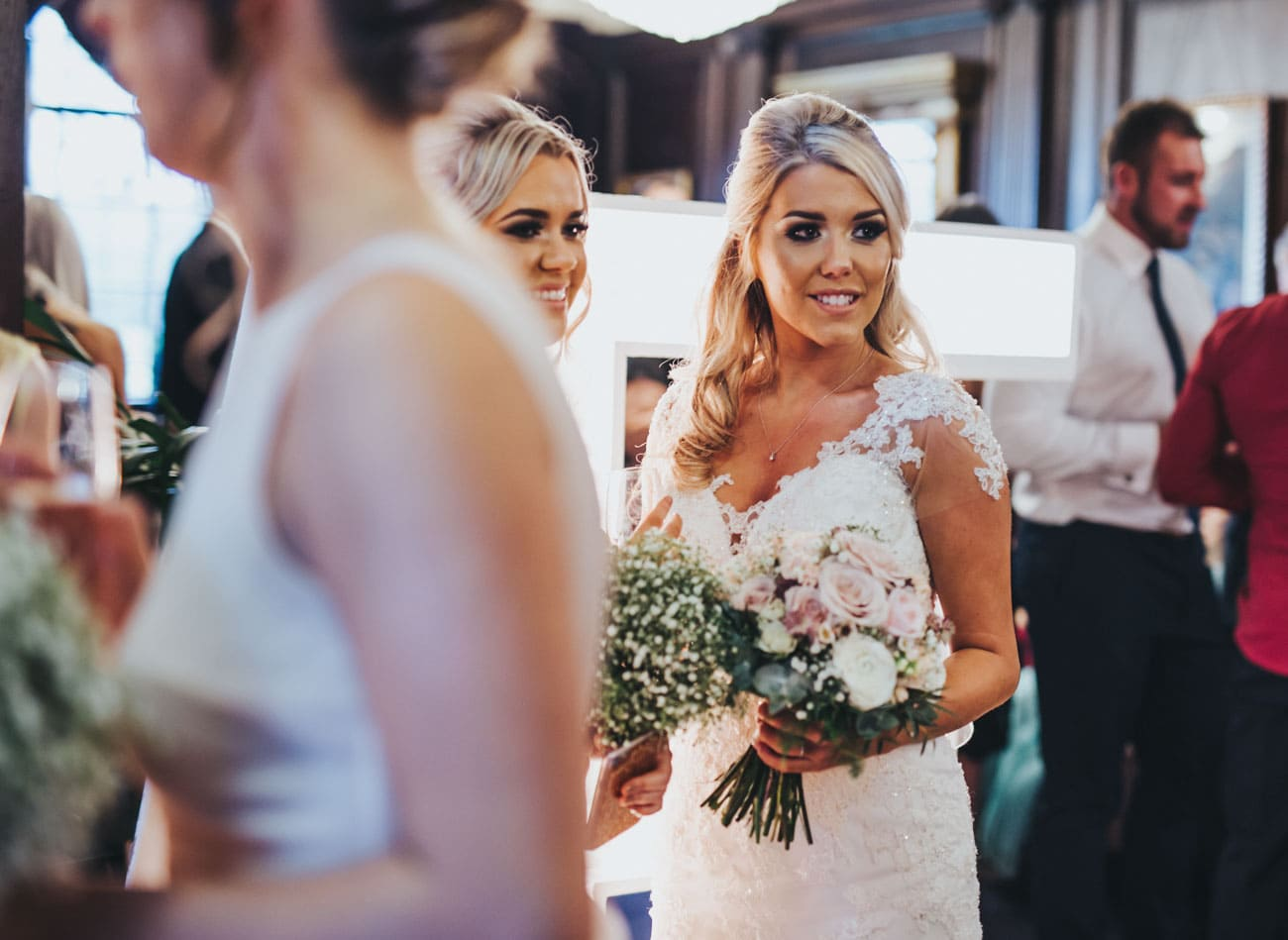 bride and guests - natural wedding photography Lancashire