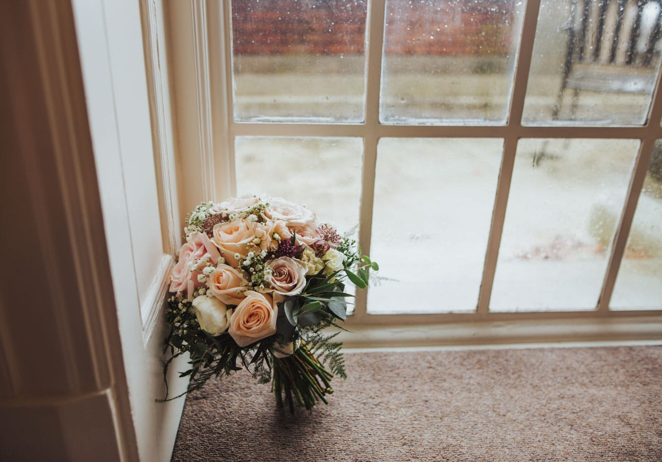 bride's bouquet at Eaves Hall