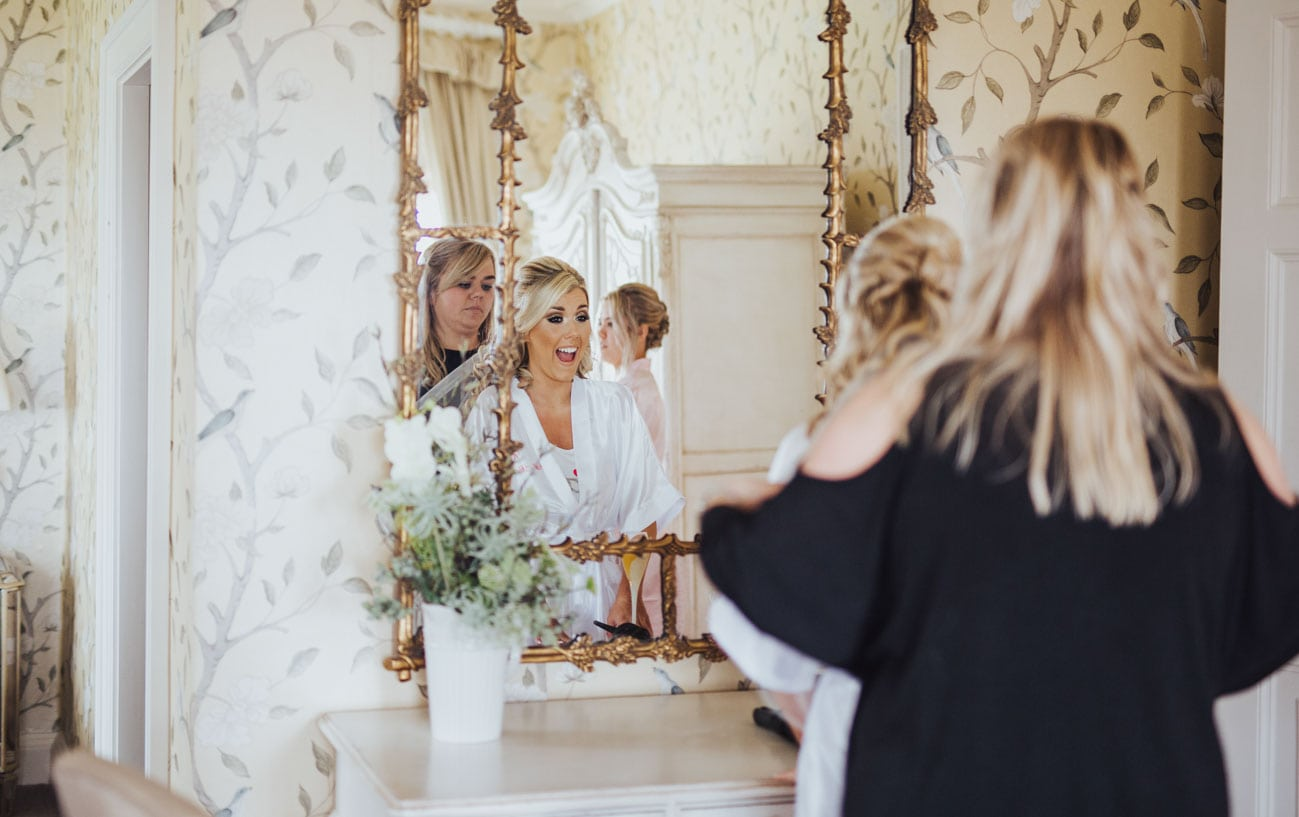 bride getting ready at Eaves Hall