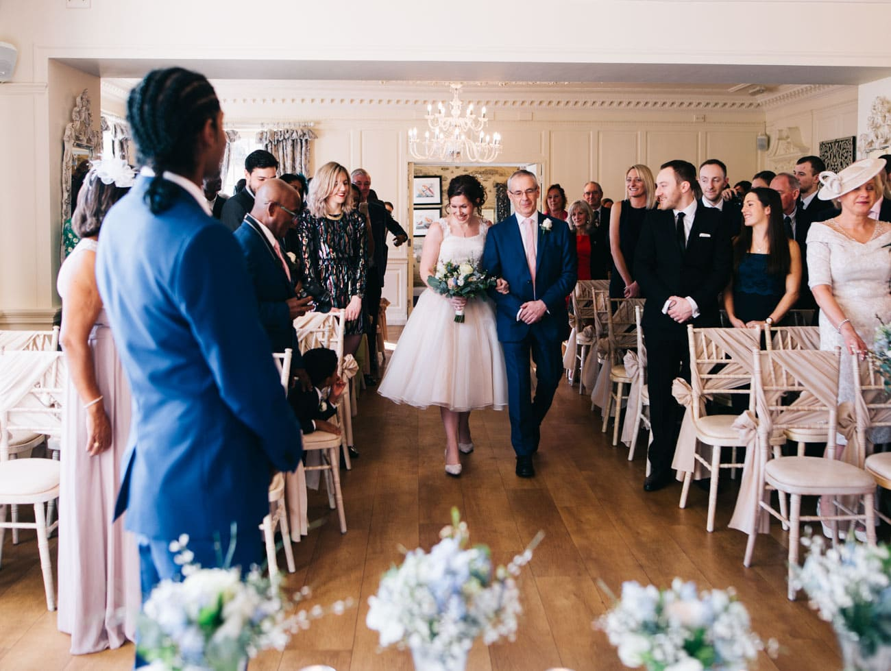 walking down the aisle of Eaves Hall