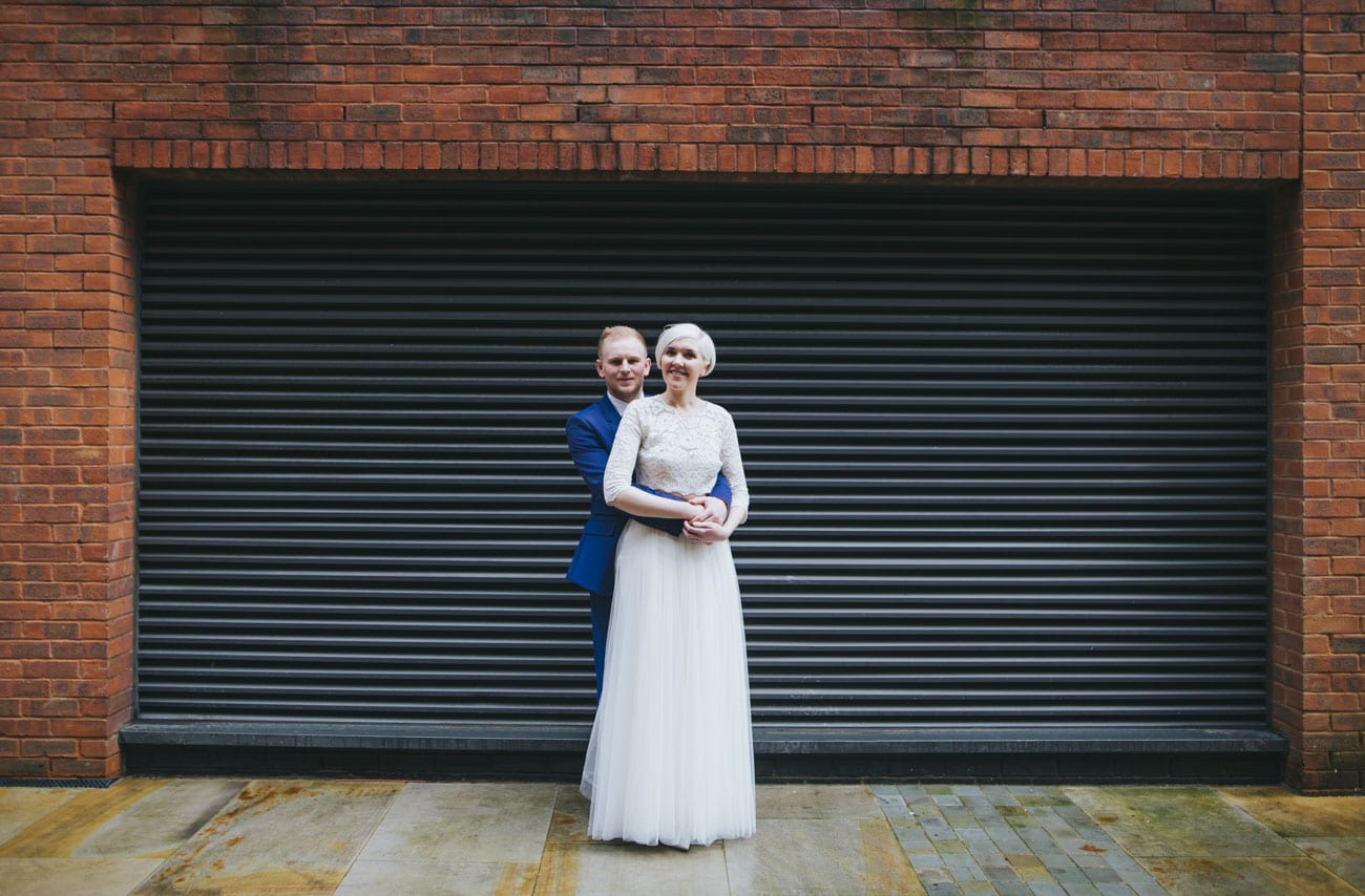 creative wedding portraits in Manchester city centre