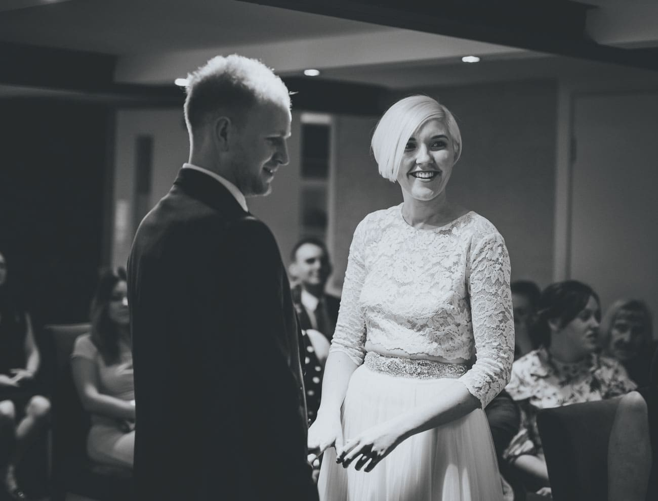 black and white wedding ceremony - great john street hotel