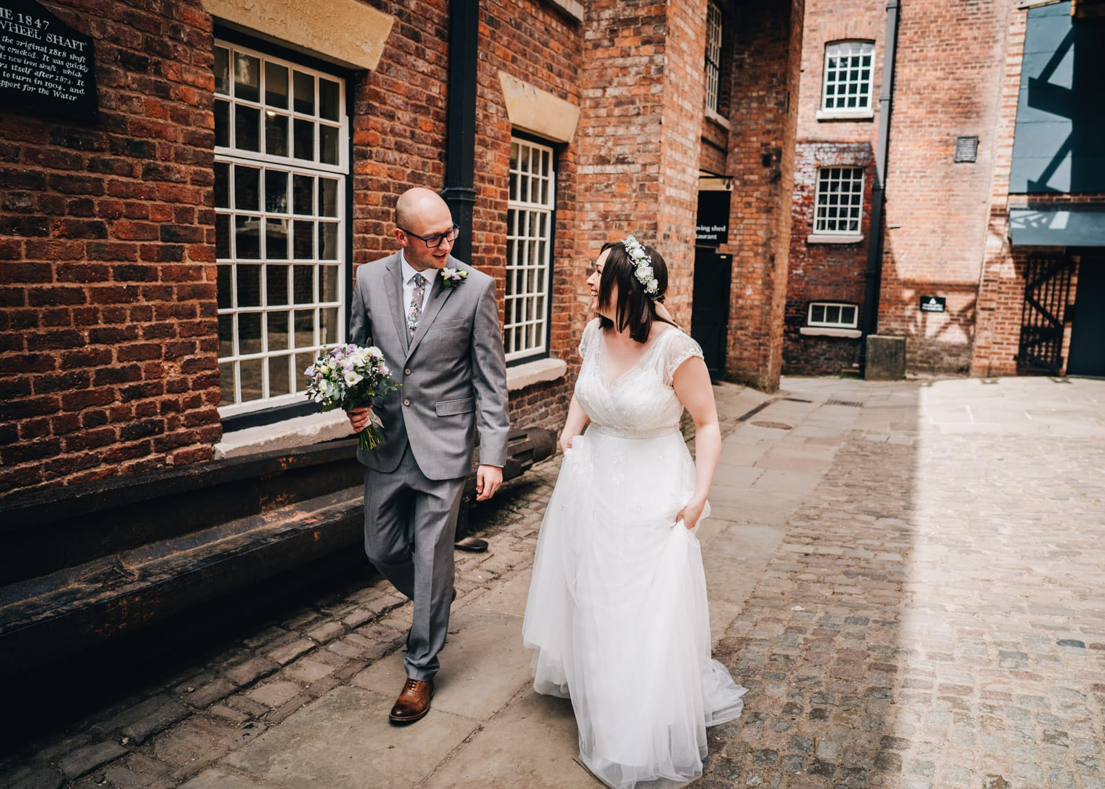 Just married! At Quarry Bank Mill