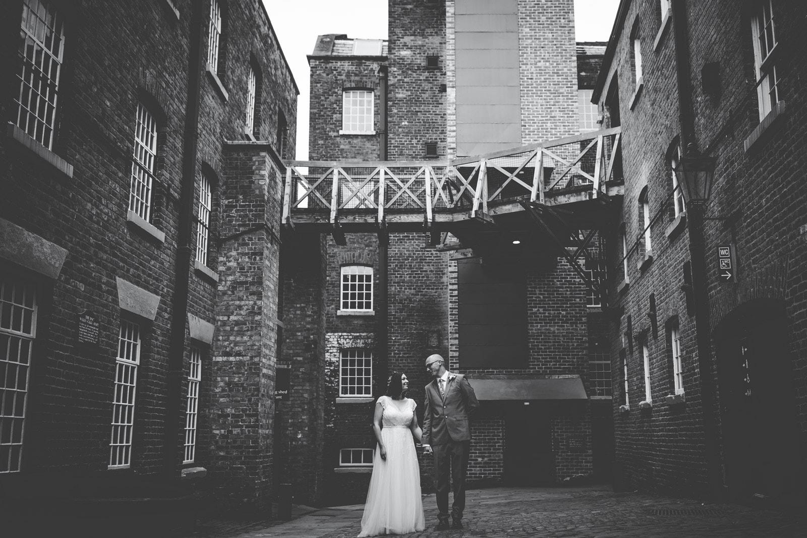 Creative wedding portraits at Quarry Bank Mill