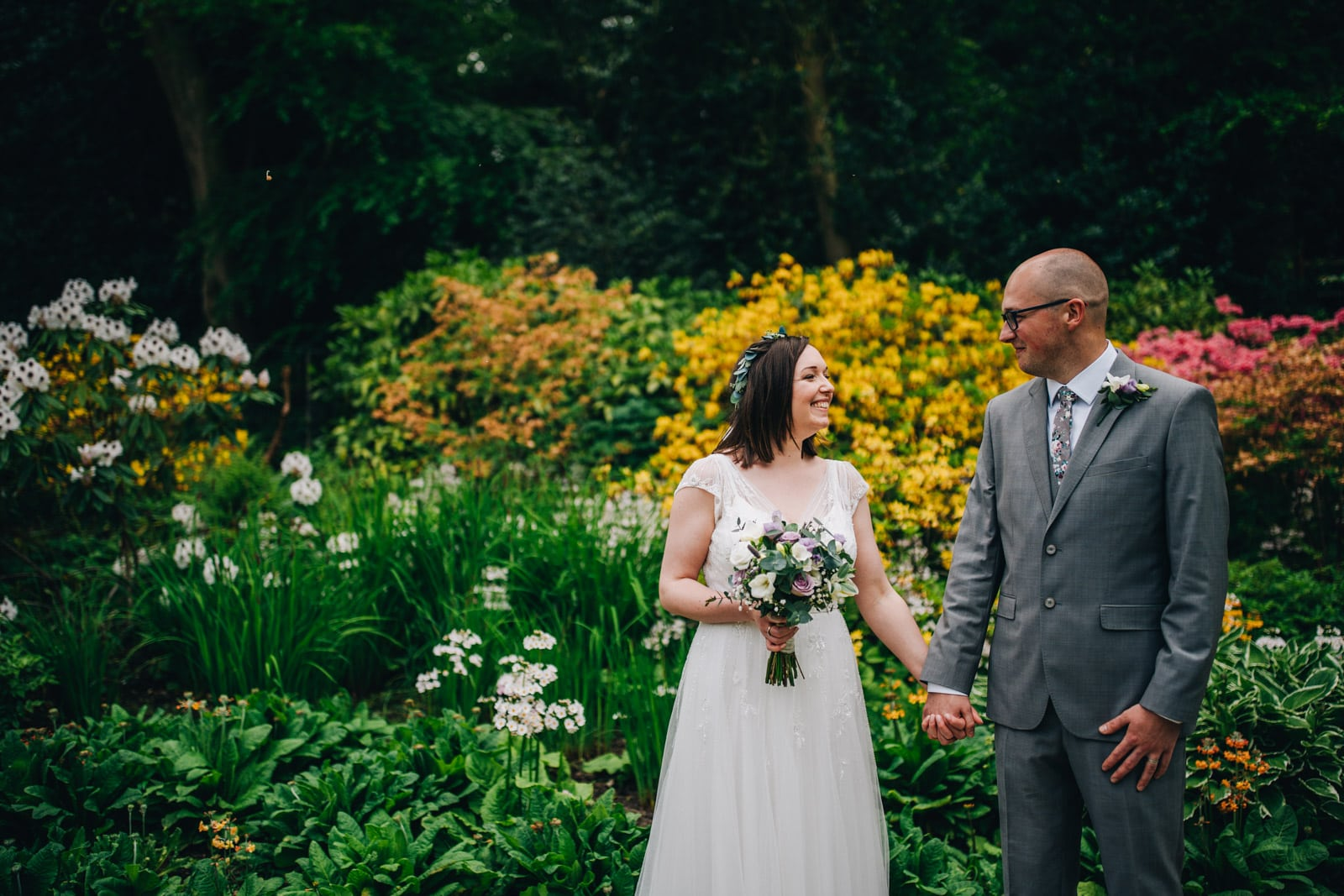 In the gardens at Quarry Bank Mill wedding